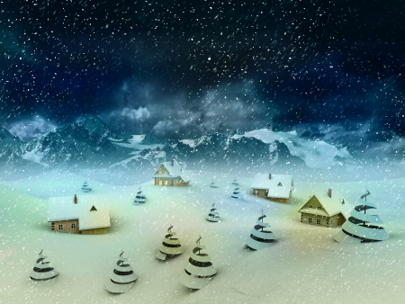 winter village perspective with mountains and snowfall illustration illustration