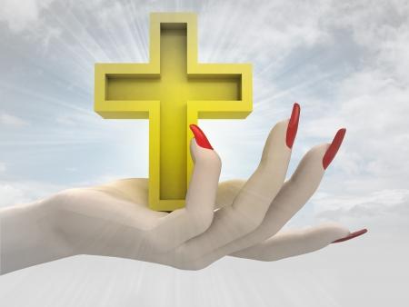 godness: golden cross in women hand render illustration Stock Photo