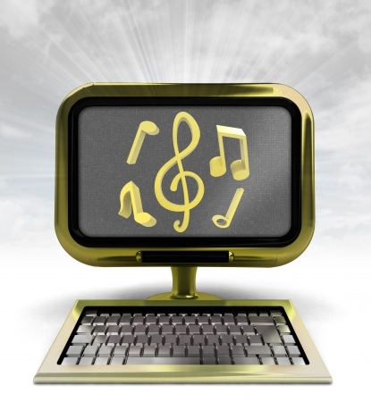 golden computer with music icons with background flare illustration illustration