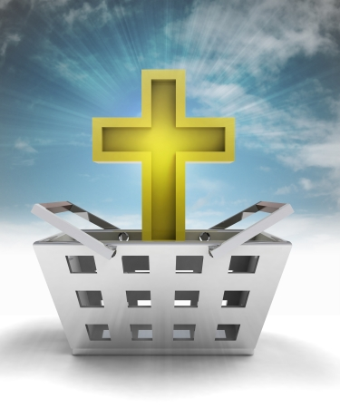 godness: holy golden cross as trade merchandise with sky flare illustration Stock Photo
