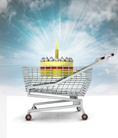 bought: bought birthday cake in shopping cart with sky illustration
