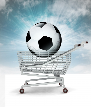 bought: bought new ball in shopping cart with sky illustration