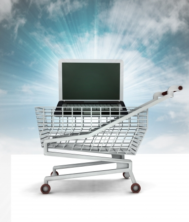 bought: bought new laptop in shopping cart with sky illustration