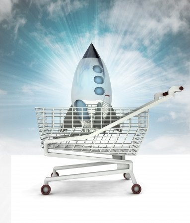 bought: bought space rocket toy in shopping cart with sky illustration Stock Photo
