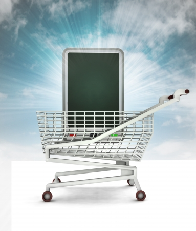 bought: bought new smart phone in shopping cart with sky illustration