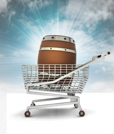 bought: bought beverage barrel in shopping cart with sky illustration Stock Photo