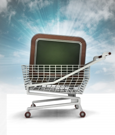 bought: bought television in shopping cart with sky illustration