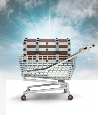 bought: bought treasure in shopping cart with sky illustration