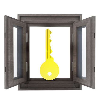 isolated opened window with key for your solution concept illustration illustration