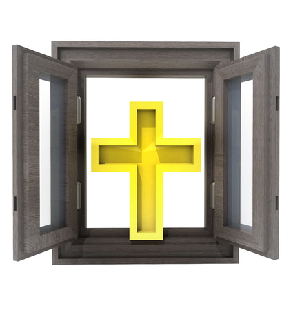 timbered: isolated opened window to your favorite religion  illustration
