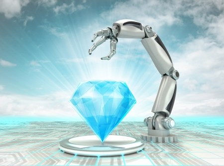 cybernetic robotic hand creation of artificial diamond with cloudy sky illustration illustration