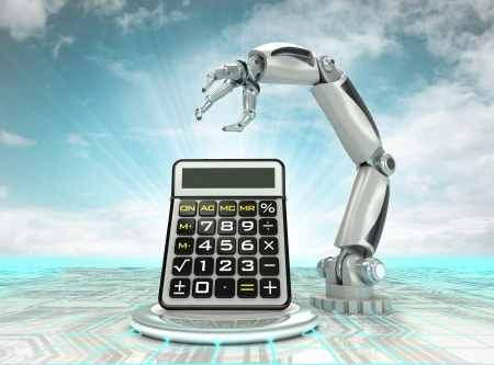 cybernetic robotic hand technological progress calculation with cloudy sky illustration illustration
