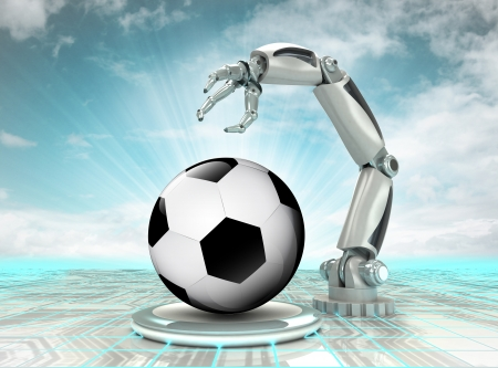 robotic hand creation of cyber sport ball with cloudy sky illustration illustration