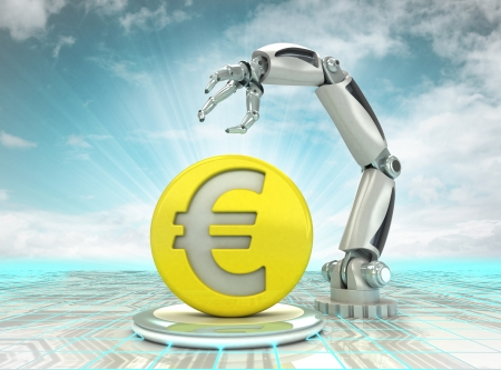 Euro coin investment to robotic hand use in modern industries with cloudy sky illustration illustration