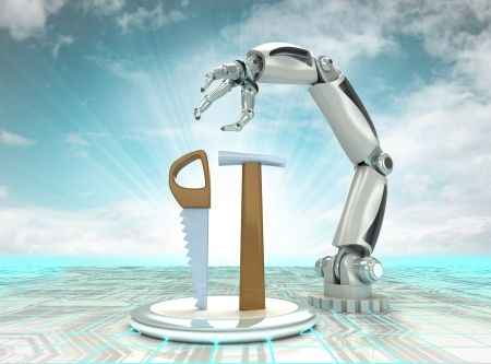 cybernetic robotic hand battle with old manual tools with cloudy sky illustration Stock Illustration - 24667431