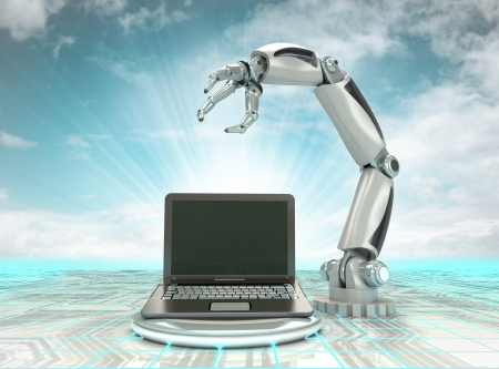cybernetic robotic hand creation of modern personal computer with cloudy sky illustration illustration