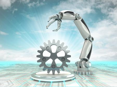 mano robotica: cibern�tico creaci�n mano rob�tica en las industrias automatizadas modernas con cielo nublado ilustraci�n