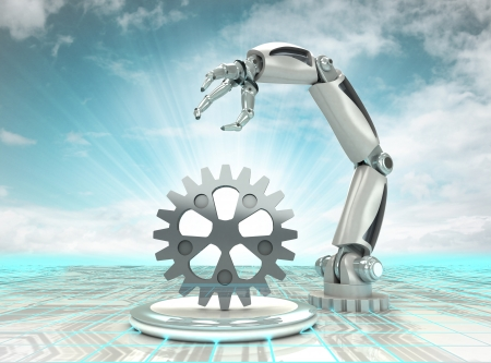 cybernetic robotic hand creation in modern automated industries with cloudy sky illustration