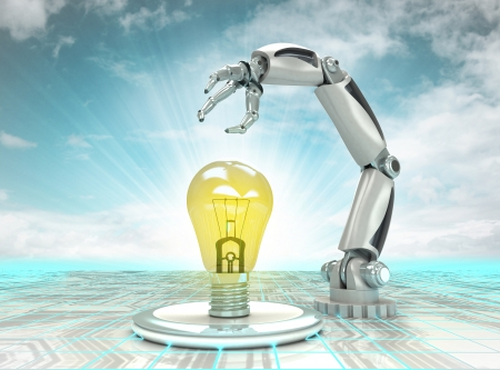 robotic hand invention in futuristic industry with cloudy sky illustration illustration
