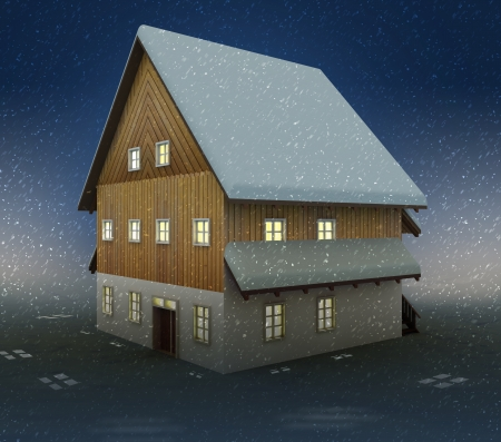alighted: Classical cottage window lighting at night snowfall illustration Stock Photo