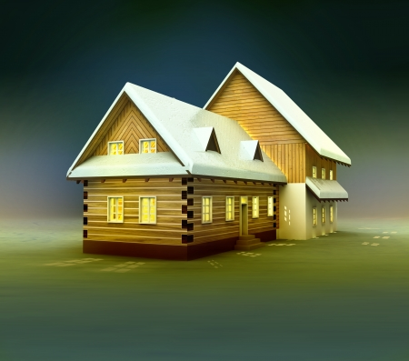 alighted: Old cottage window lighting at night illustration Stock Photo