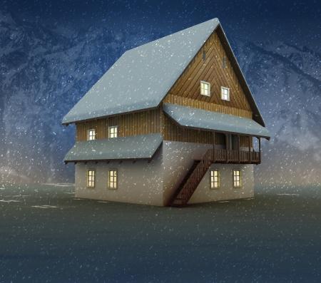 alighted: Seasonal cottage and window lighting at night snowfall illustration