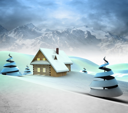 Lonely mountain cottage with high mountain landscape illustration illustration
