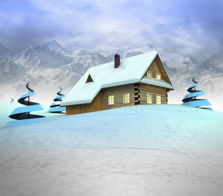 Mountain cottage with trees with high mountain landscape illustration illustration