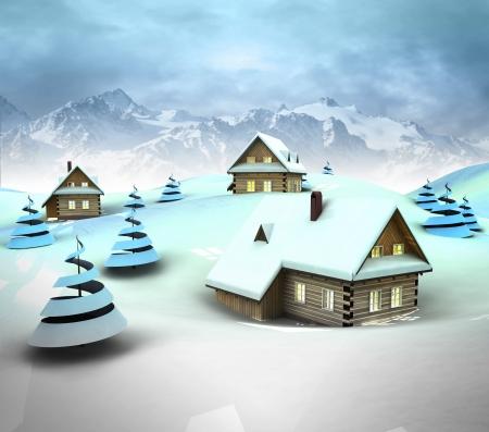 enviroment: Mountain village enviroment with high mountain landscape illustration