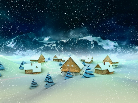 winter village  general view with mountains and snowfall illustration illustration
