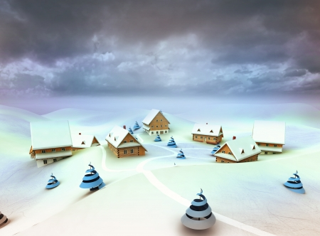 Winter village scene cloudy dark sky evening illustration illustration