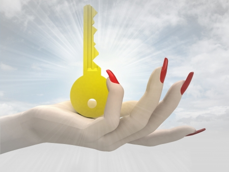 golden key in women hand render illustration illustration