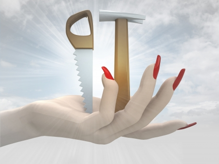 dyi: two working tools in women hand render illustration
