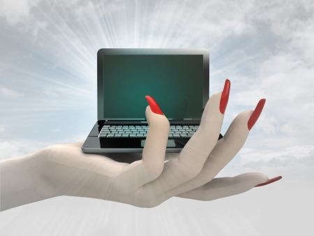 new modern laptop in women hand render illustration illustration