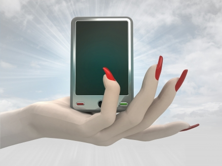 smart phone technology in women hand render illustration illustration
