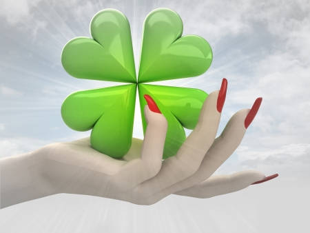 green lucky cloverleaf in women hand render illustration