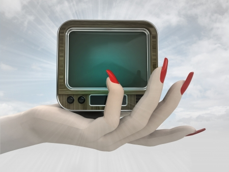 retro television in women hand render illustration illustration