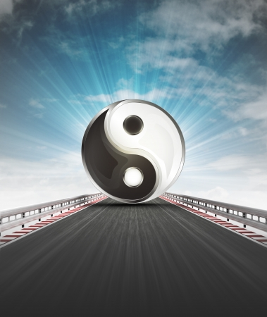 yin and yang on motorway leading to harmony with sky flare illustration illustration