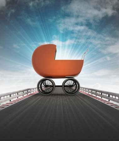 babe: babe carriage on motorway leading to maternity with sky flare illustration Stock Photo