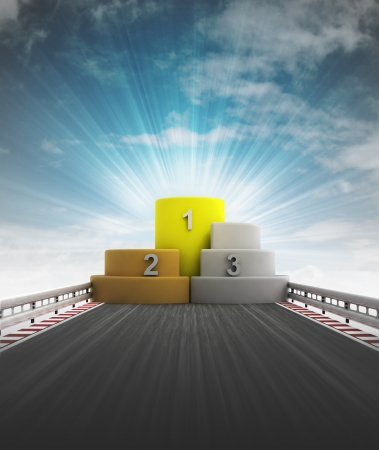 winner podium for champion of racing with sky flare illustration illustration