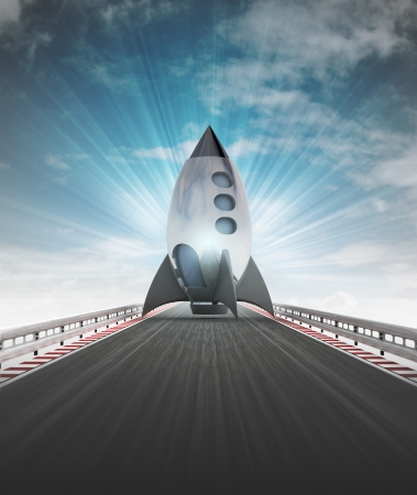 space rocket on motorway track leading to spaceport with sky flare illustration illustration