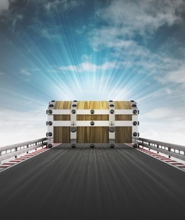 outdoor advertising construction: chest on motorway track leading to treasure with sky flare illustration