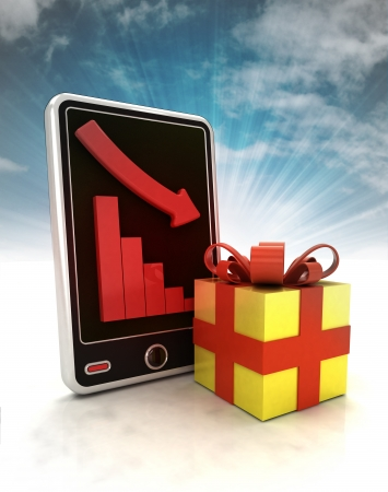 descending negative graph stats with gift surprise on phone display with sky illustration illustration
