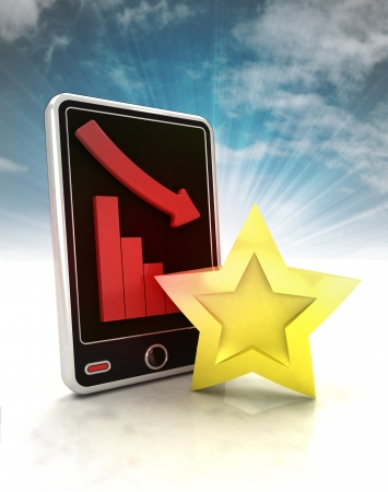 descending negative graph with star on phone display with sky illustration illustration