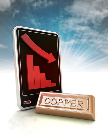 descending graph of copper negative stats on phone display with sky illustration illustration