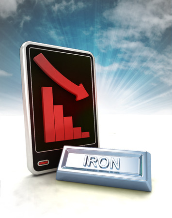 descending graph of iron negative stats on phone display with sky illustration illustration