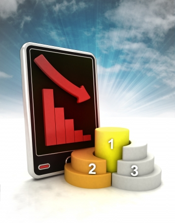 descending graph of business stats on phone display with sky illustration illustration