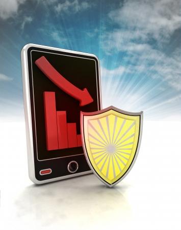 descending graph defence stats on phone display with sky illustration illustration