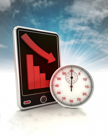 depending: descending graph time depending stats on phone display with sky illustration Stock Photo