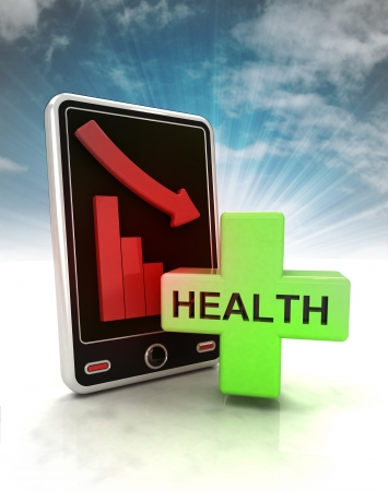 descending graph of health stats on phone display with sky illustration illustration